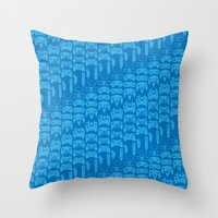 Video Game Controllers - Blue Throw Pillow