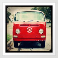 Red VW Bus Art Print