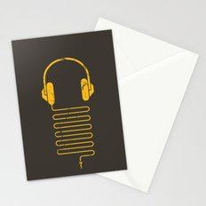 Gold Headphones Stationery Cards