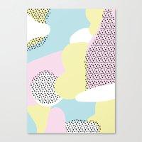 Candy Pink Blue Blobs & Dots Pattern Canvas Print