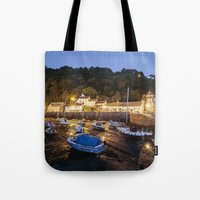Boats in Lynmouth Harbour at dawn twilight. Devon, UK. Tote Bag