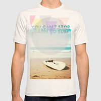 you can't stop the waves, but you can learn to surf Mens Fitted Tee Natural SMALL