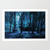 Blue Forest  Art Print
