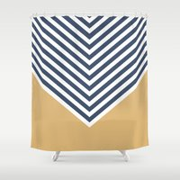Gold & Navy Chevron Shower Curtain