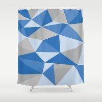 Blue & Gray Geometric Shower Curtain