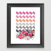 Colourful Flowers and Zig Zags Framed Art Print