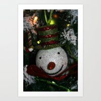 Snowman Ornament  Art Print
