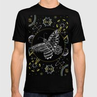 Space Butterfly Mens Fitted Tee Black SMALL