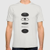 Bagel Sandwich Mens Fitted Tee Silver SMALL