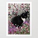 Freckles in Flowers II - Tuxedo Kitty Cat Art Print
