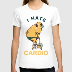 I Hate Cardio Womens Fitted Tee White SMALL