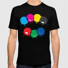 CMYK fights RGB SMALL Mens Fitted Tee Black