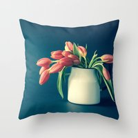 Thinking of You - Sending Tulips Throw Pillow