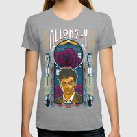 Doctor Who, David Tennant Allons-Y 10th Doctor Womens Fitted Tee Tri-Grey SMALL