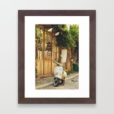 Vintage Vespa in Paris Framed Art Print