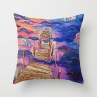 space clouds crystals  Throw Pillow