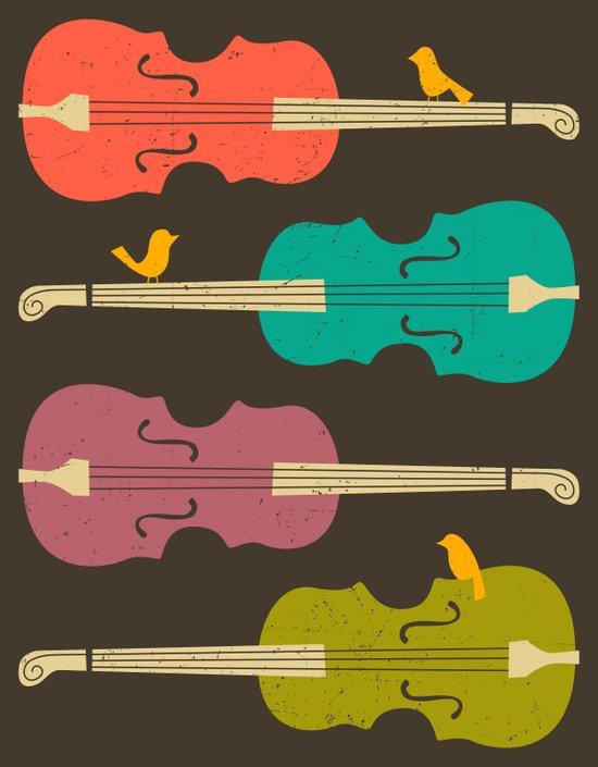 Birds on a Cello String (brown) Art Print