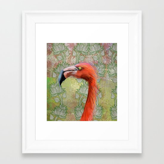 Red big bird Framed Art Print