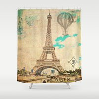 Vintage Eiffel Tower Paris Shower Curtain
