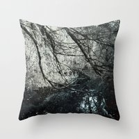 Cold colors and a touch of red Throw Pillow