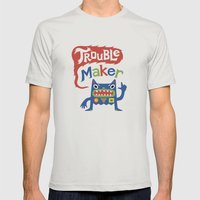 Trouble Maker Mens Fitted Tee Silver SMALL