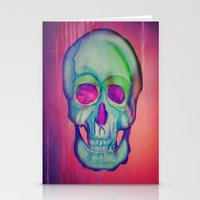 Watercolor skull/Blue Stationery Cards