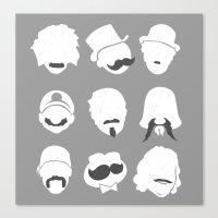 Famous Moustaches grey Canvas Print