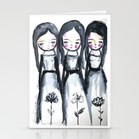 3 girls black and white Stationery Cards