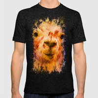 Jazzy Llama Colorful Animal Art by Jai Johnson Mens Fitted Tee Tri-Black SMALL
