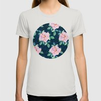 Simple Pink Rose Oil Painting Pattern Womens Fitted Tee Silver SMALL