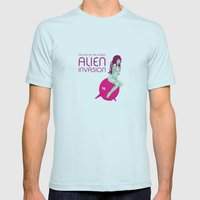 Alien Invasion Mens Fitted Tee Light Blue SMALL