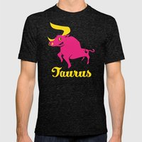 Taurus: The Bull Mens Fitted Tee Tri-Black SMALL