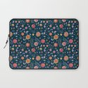 Teal and Brights Flower Pattern Design Laptop Sleeve