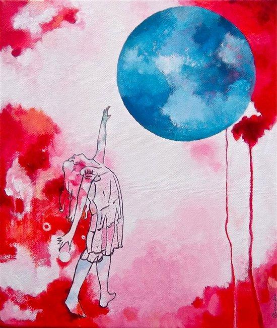Woman Reaching (Dark) Art Print