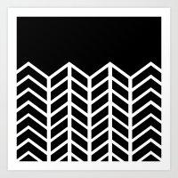 BLACK LACE CHEVRON Art Print