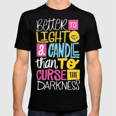 LIGHT A CANDLE Mens Fitted Tee SMALL Black
