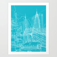 New York! Blueprint Art Print