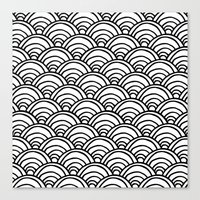 Waves All Over - Black and White Canvas Print