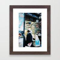 Women standing at the magazine Kiosque, Paris 2012 Framed Art Print