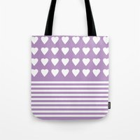 Heart Stripes Orchid Tote Bag