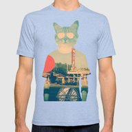 Cool Cat Mens Fitted Tee Tri-Blue SMALL