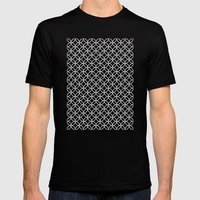 Black Kawung Pattern Mens Fitted Tee Black SMALL