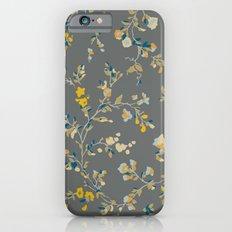 vintage floral vines - greys & mustard iPhone 6s Slim Case