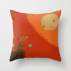 Tea with Moon Throw Pillow