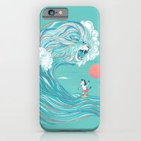 iPhone Cases featuring surfing zebra by Laura Graves