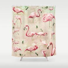 Flamingos Vintage Pink  Shower Curtain