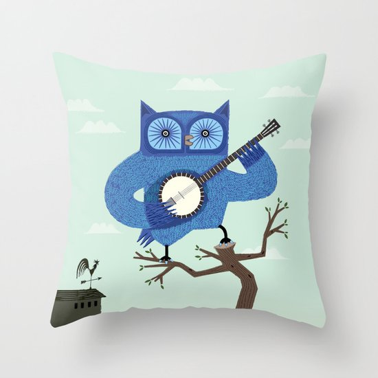 The Banjowl Throw Pillow