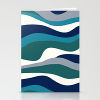 Cordillera Stripe: Teal Navy Combo Stationery Cards