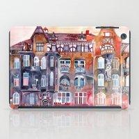 Apartment House in Poznan and orange umbrellas iPad Case