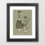 Framed Art Print featuring Hunting Ducks by David Fleck
